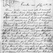 July 17, 1872 Letter from Henry Learned to Sister
