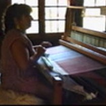 Alicia Blackwell (professional weaver) at the Hayden Cabin, 1992