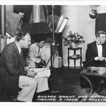 George Brent and Myrna Loy Making A Movie in Hollywood, Calif