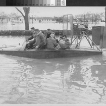 Photograph of a Rescue Boat during the flood of 1955