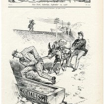 Can he make the donkey drink?', Harper's Weekly caricature, 1906