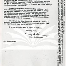 Copy of Letter from Henry Kissinger To William Fulbright, Page 2
