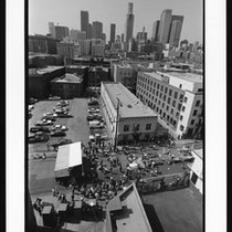 Aerial view of a Union Rescue Mission of Los Angeles gathering, 1996