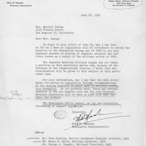 Letter, 1954 June 28, Washington, D.C. to Mrs. Estelle Ishigo, Los Angeles, ...