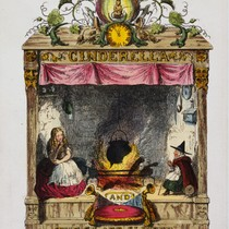 Cinderella in the chimney-corner, frontispiece to Cinderella and the Glass Slipper