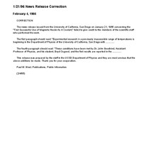 1/21/96 News Release Correction
