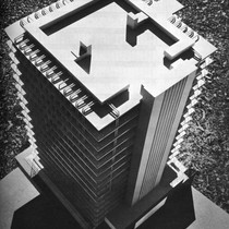 Aerial view of building model