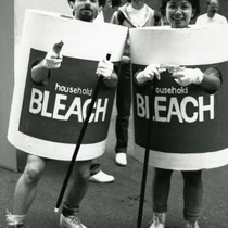 People in bleach costumes for AIDS prevention and education