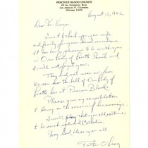 Letter from Father O'Lean to Miguel Venegas, August 13, 1962
