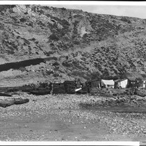 Abalone fishing village, north of Santa Monica, California, ca.1900-1905