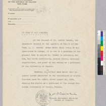 Letter from the Polish Consulate stating that they cannot provide Alfred Tarski's ...