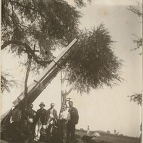 [Charles Burckhalter (center) and four other members of the solar eclipse expedition ...