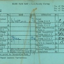 WPA block face card for household census (block 1020) in Los Angeles ...