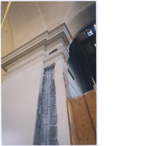Detail of building restoration in Oakland City Hall after earthquake damage, circa ...