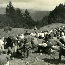 "Audience viewing Mountain Play, ""Tamalpa,"" Mt. Tamalpais, California, circa 1923 [photograph]"