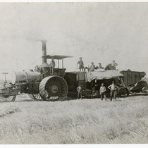 Agricultural workers with steam combine at Miller Brothers Ranch, Colusa County, circa ...