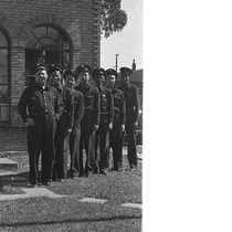 Group photograph of Oakland firefighters standing in front of fire engine no. ...