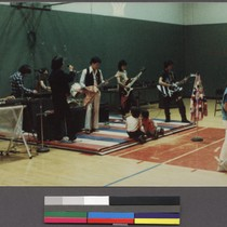 Band playing at a dance at the East Shore YMCA, Oakland, California