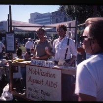 Mobilization Against AIDS booth at a protest at San Francisco's Federal Building ...