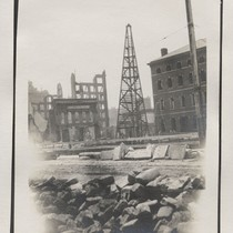 [Construction tower erected adjacent to Appraisers' Building (Customs House), Sansome St. between ...