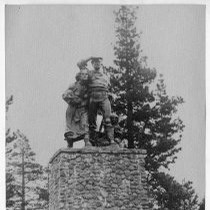 View of the Pioneer Monument to the Donner Party near Donner Lake, ...