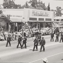 The 1947 Cherry Festival Parade with the Flag and Color Guard