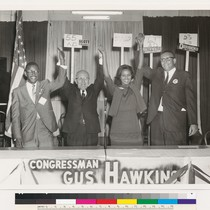 Augustus F. Hawkins celebrating the 1966 election results