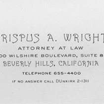 Business card for Crispus A. Wright, attorney at law