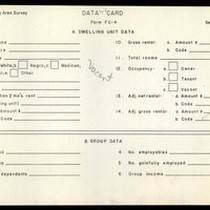 WPA Low income housing area survey data card 120, serial 17962, vacant
