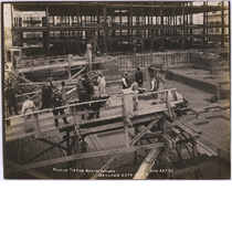First batch of concrete poured for fifth Oakland City Hall, July 1911