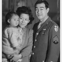 T/4 Taniguchi visits his wife and daughter at the Minidoka Relocation Center ...