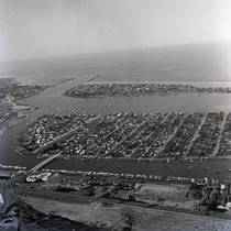 Aerial view of Balboa Island and harbor entrance in Newport Bay, Newport ...