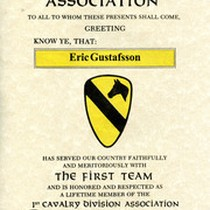 1st Cavalry Division Association Lifetime Membership Certificate Awarded To Gustafsson, 2007