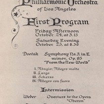 First Programme of the Philharmonic Orchestra of Los Angeles