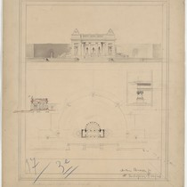 Architectural drawing of a summer reading room in a park, signed by ...