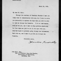 Letter from Theodore Roosevelt to John Muir, 1903 Mar 14