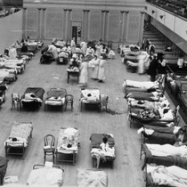 1918 flu epidemic [picture] : the Oakland Municipal Auditorium in use as ...