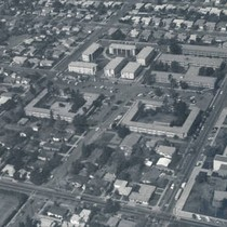 Aerial view of the Chapman College residence halls, Orange, California