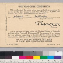 War Manpower Commission Registration Card certifying that Alfred Tarski is registered with ...