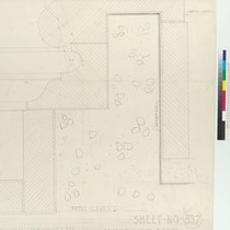 Architectural drawing of wall around basin of fountain, Pasadena City Hall, right ...