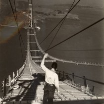 Catwalks connecting the two towers of the Golden Gate Bridge during its ...