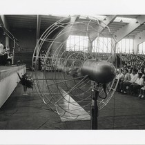 Los Angeles Philharmonic in performance with electric fan in foreground
