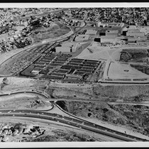 Aerial view of California State University at Los Angeles, showing a freeway ...