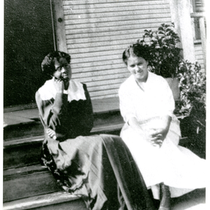 Maggie Watts and Frances Watts Kemper sitting in front of Dr. William ...