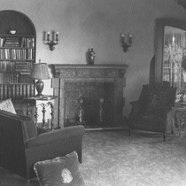 Abrams residence, interior view of living room with fireplace
