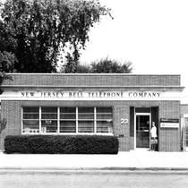 Donna Shimp in front of New Jersey Bell Telephone Company building