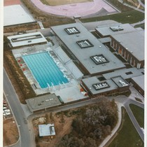 Aerial photograph, West Valley College, pool and PE buildings, 1977