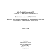 Bear Creek Drainage Yellow Starthistle Treatment, Environmental Assessment CA-340-03-016