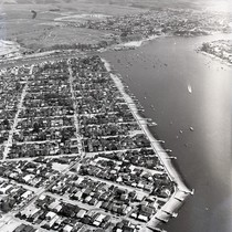 Aerial view of Balboa Island and Newport Bay, Newport Beach, California: Photograph