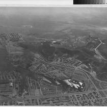 [Aerial photograph of Kaiser Shipyards Number One, Three, and Four]